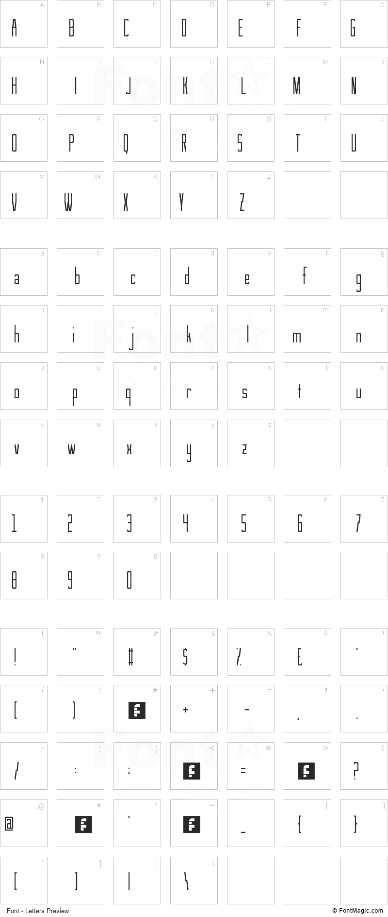 See You At The Movies Font - All Latters Preview Chart