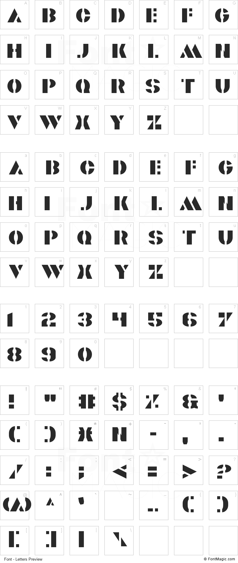 Valiant Font - All Latters Preview Chart