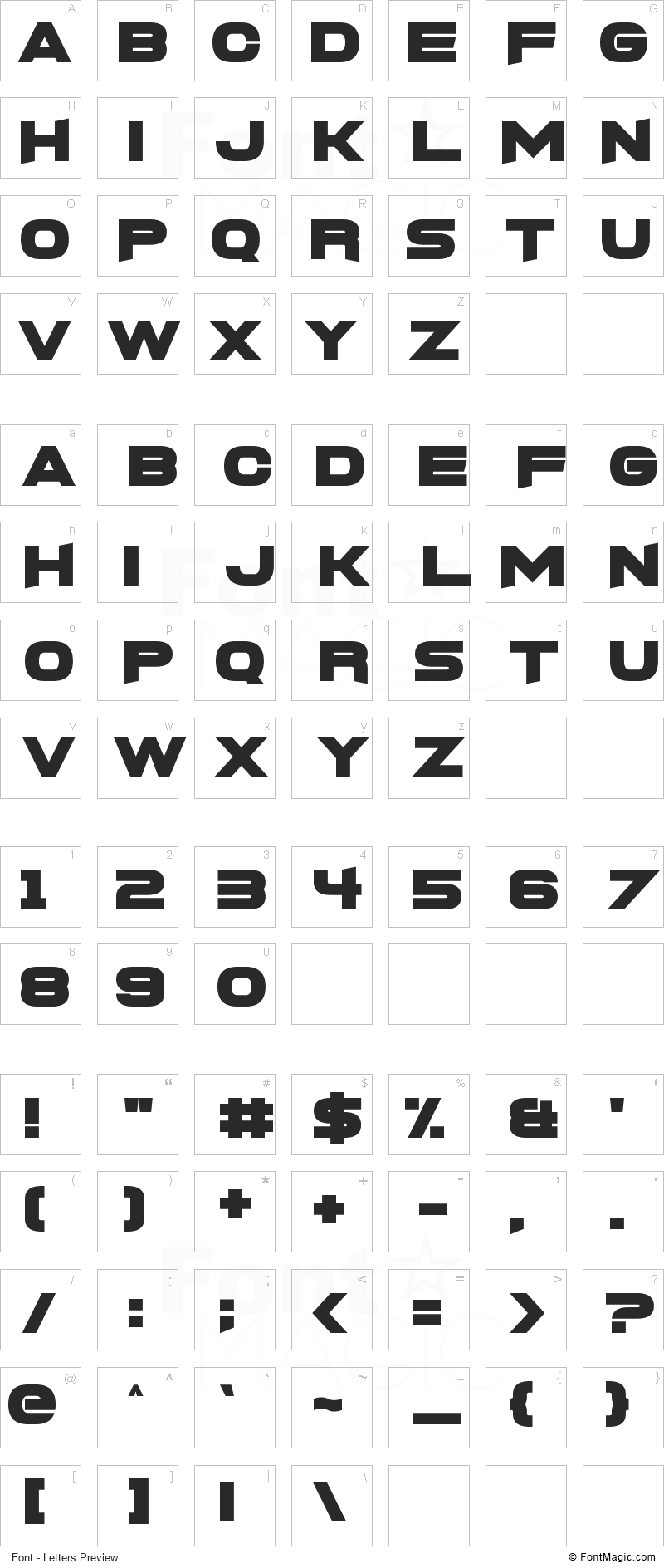 FoughtKnight X Font - All Latters Preview Chart