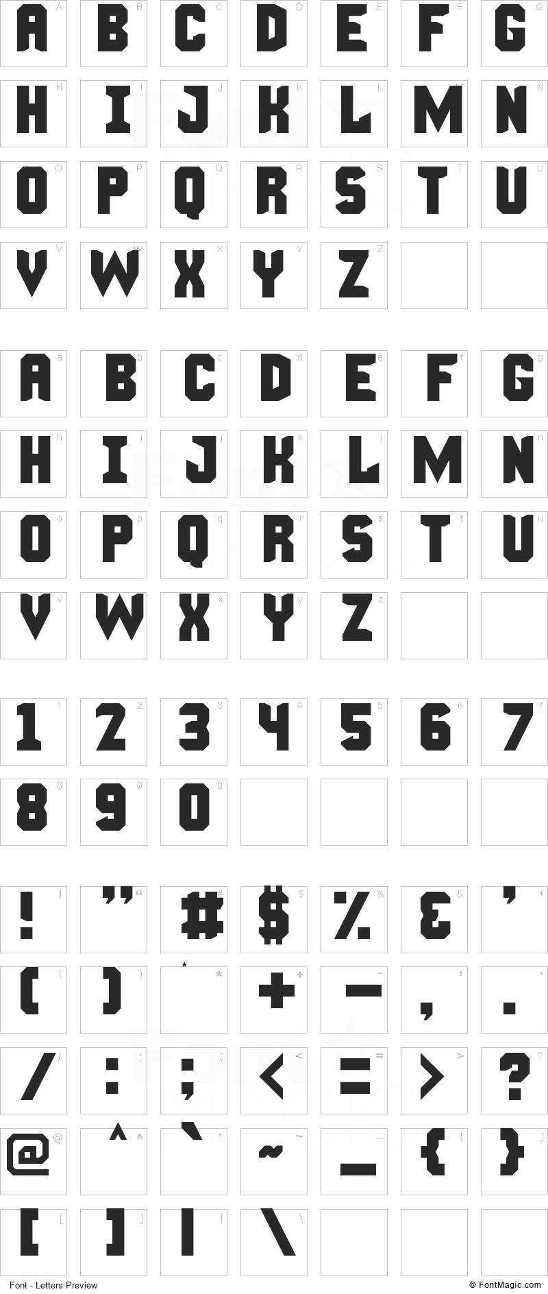 Manly Man Font - All Latters Preview Chart