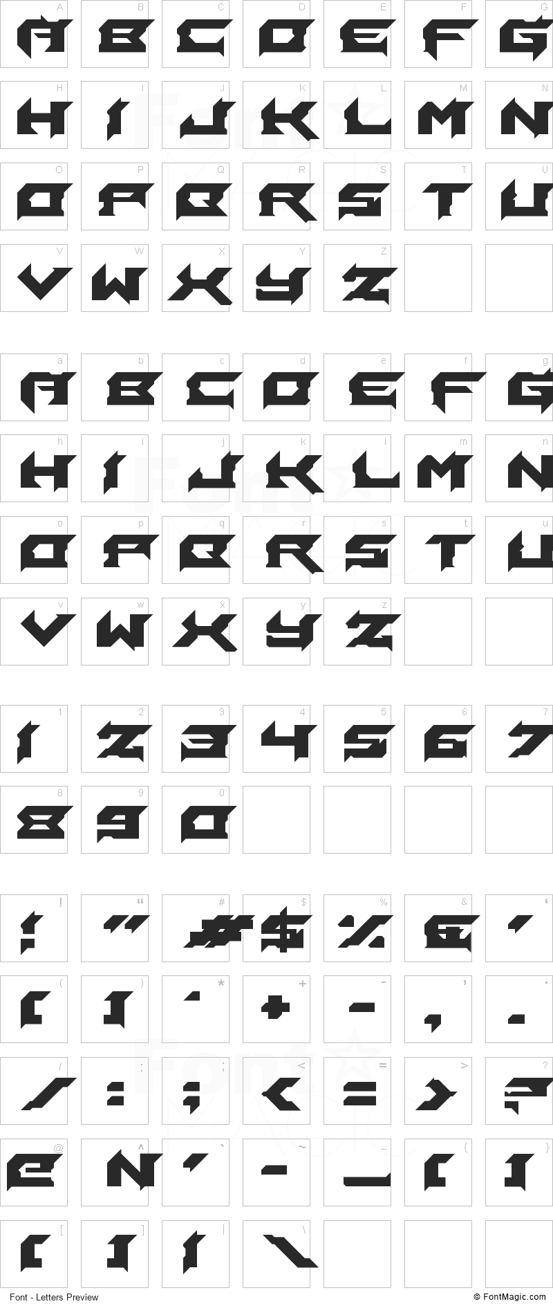Laceration Font - All Latters Preview Chart