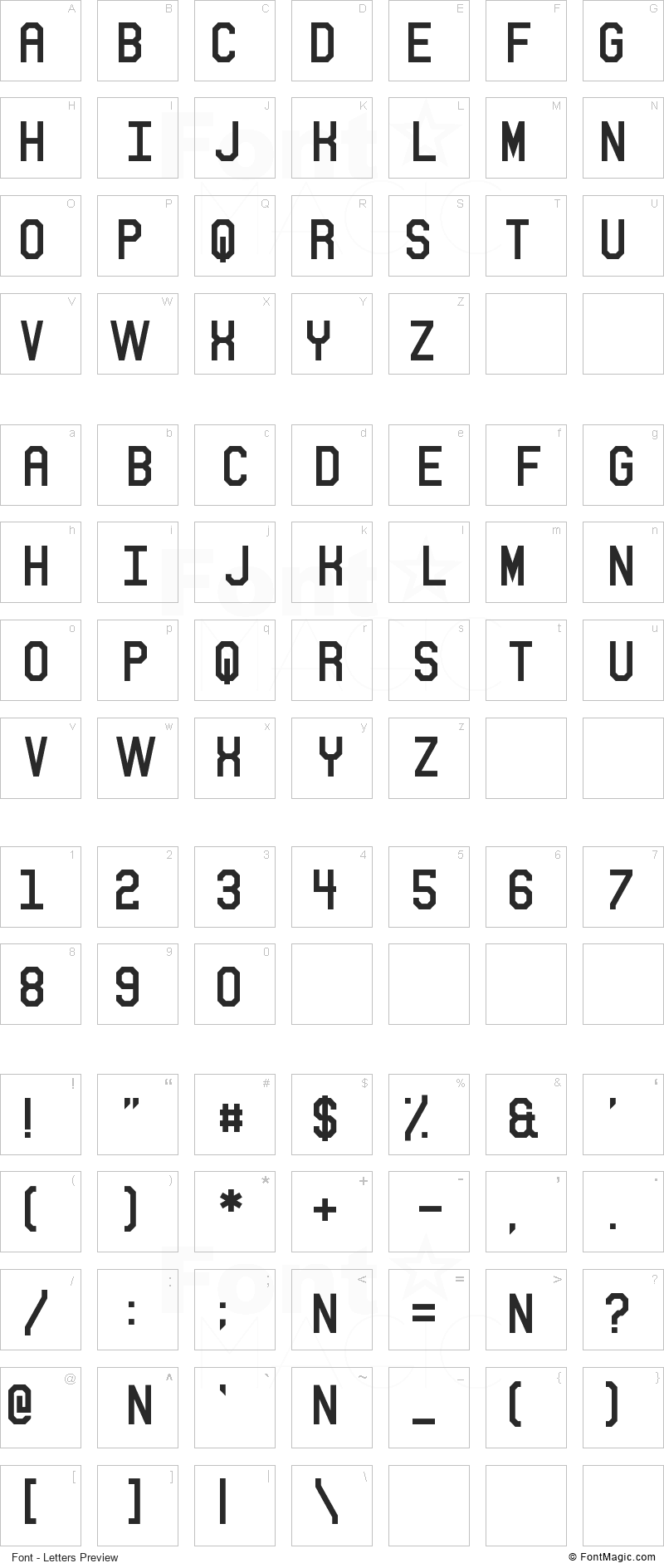 Sitdown Font - All Latters Preview Chart