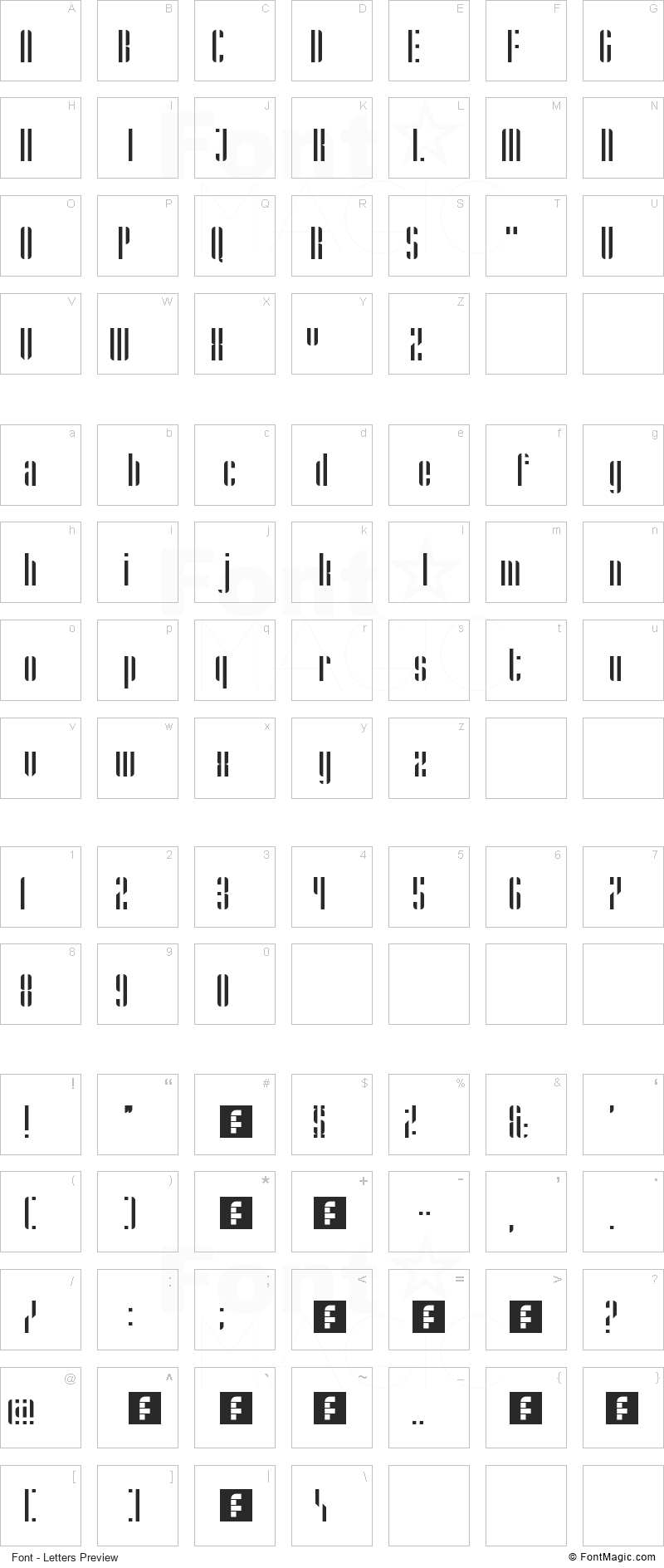 Stripes Font - All Latters Preview Chart