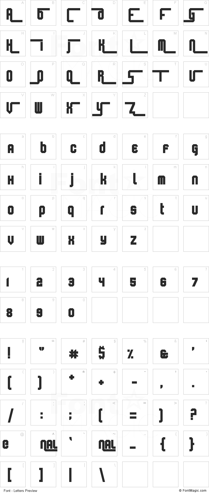 Keyboard Warrior Font - All Latters Preview Chart
