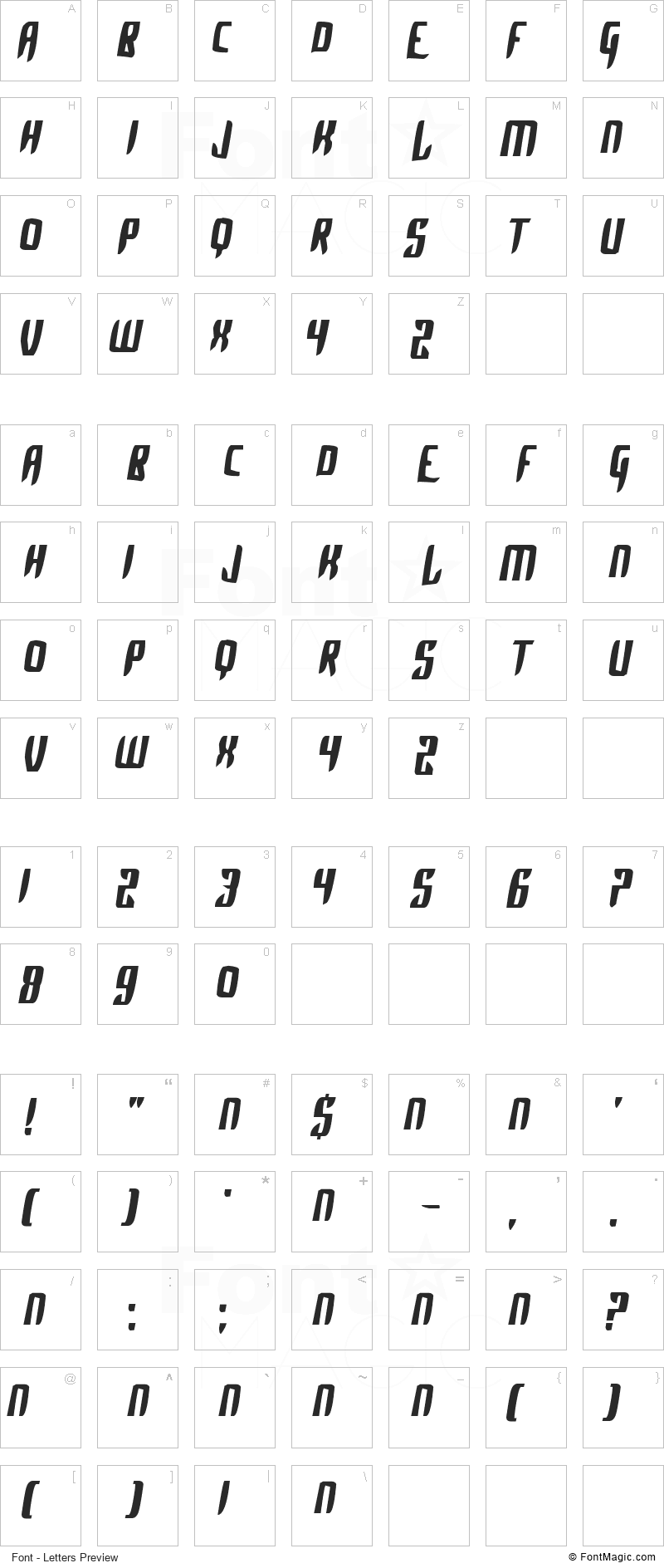 Alpha Sapphire Font - All Latters Preview Chart