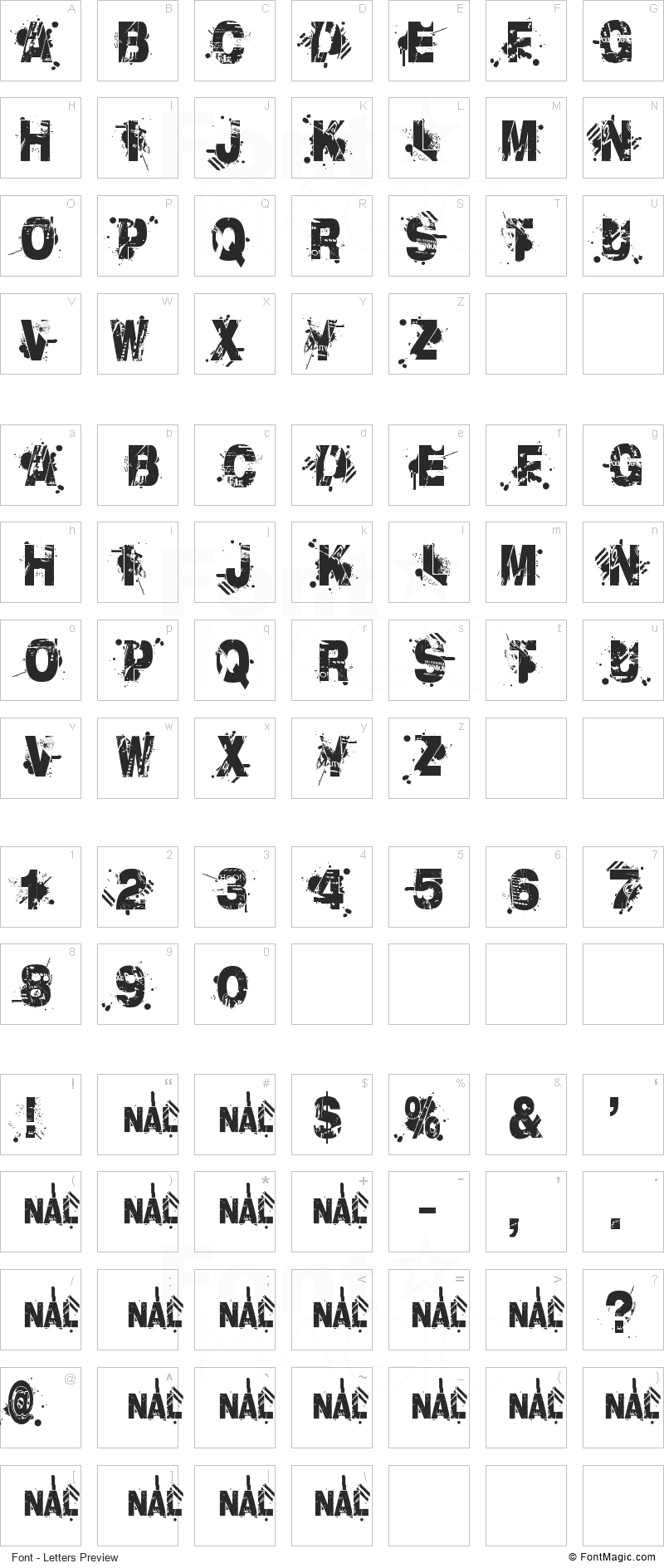 Liberty City Ransom Font - All Latters Preview Chart