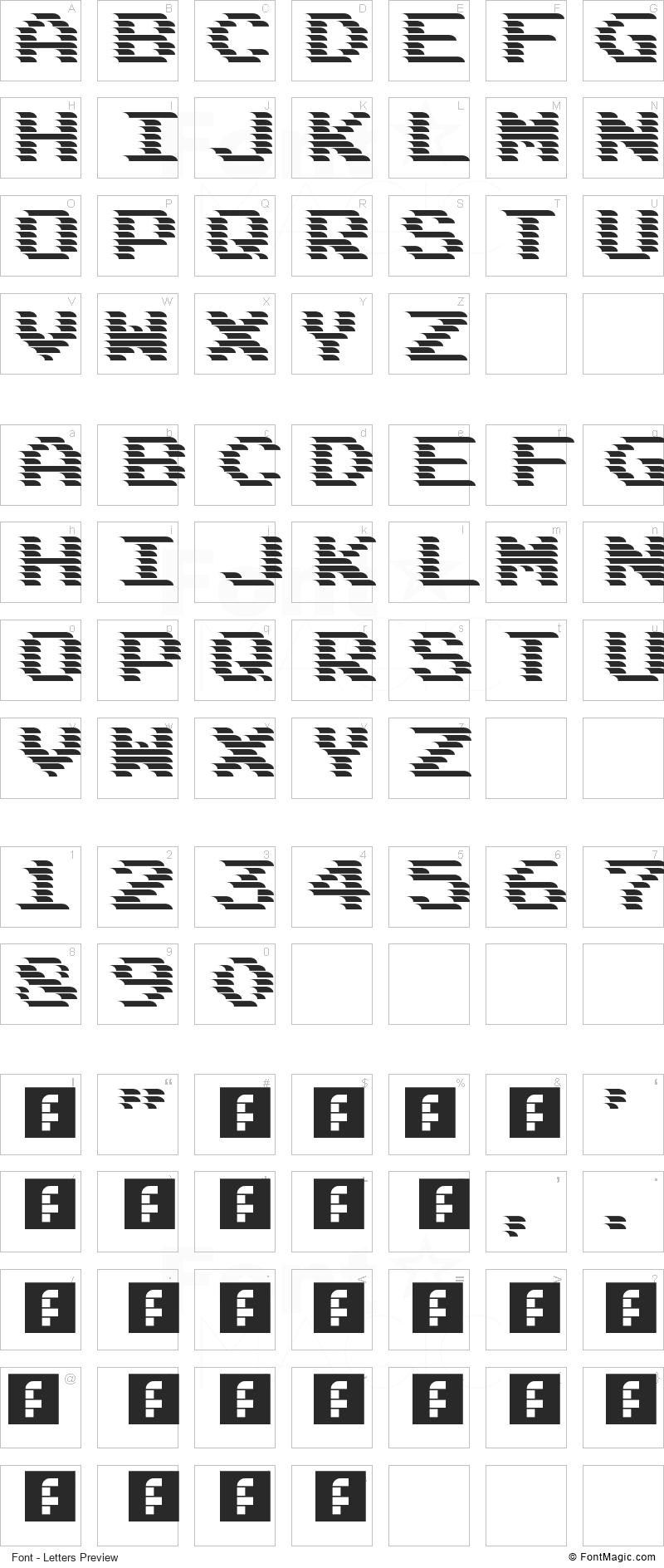 DeadCRT Font - All Latters Preview Chart