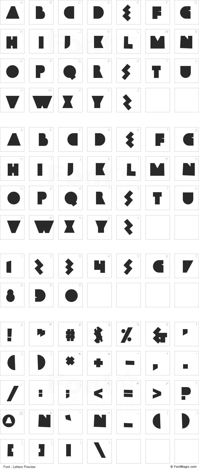 Bamboozler Font - All Latters Preview Chart