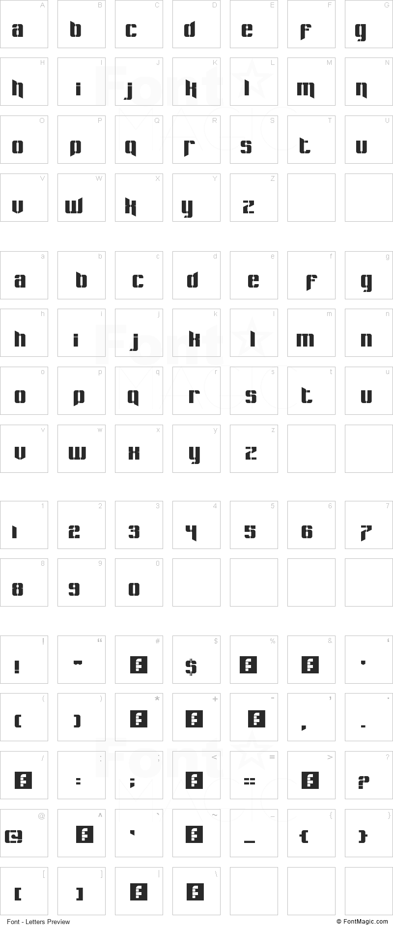 Pastcorps Font - All Latters Preview Chart