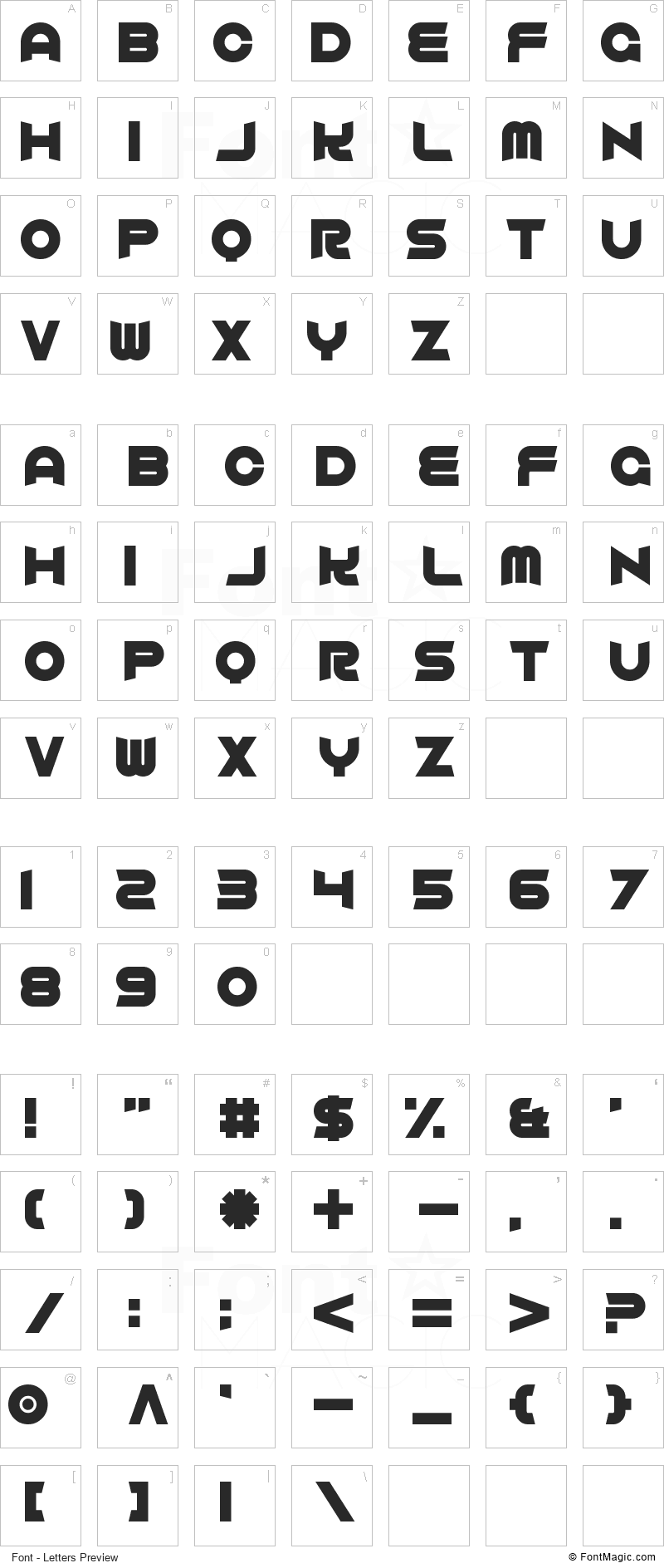Comfortably Fucked Font - All Latters Preview Chart