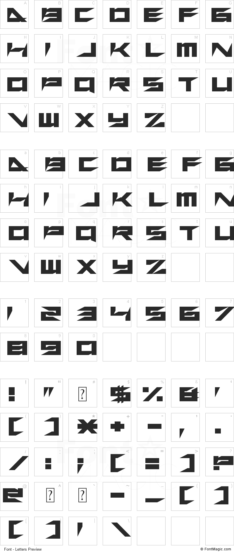 Xero's Retreat Font - All Latters Preview Chart