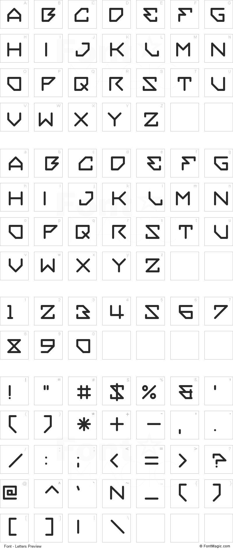 Embezzler Font - All Latters Preview Chart