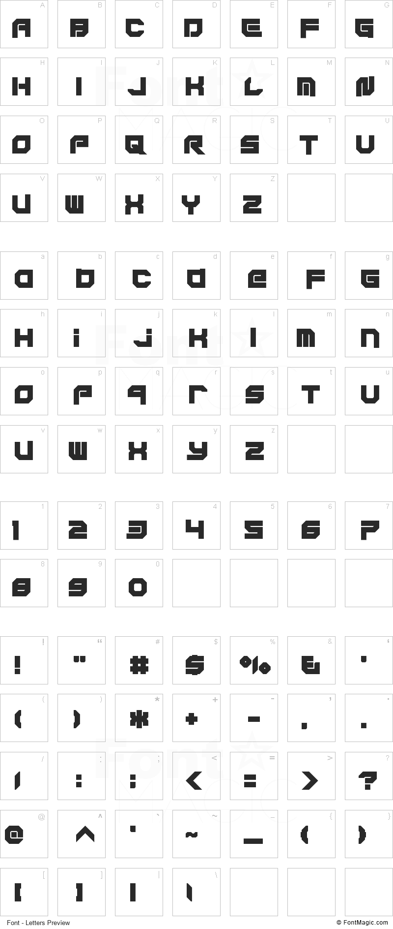 Xodohtro-Nu Font - All Latters Preview Chart