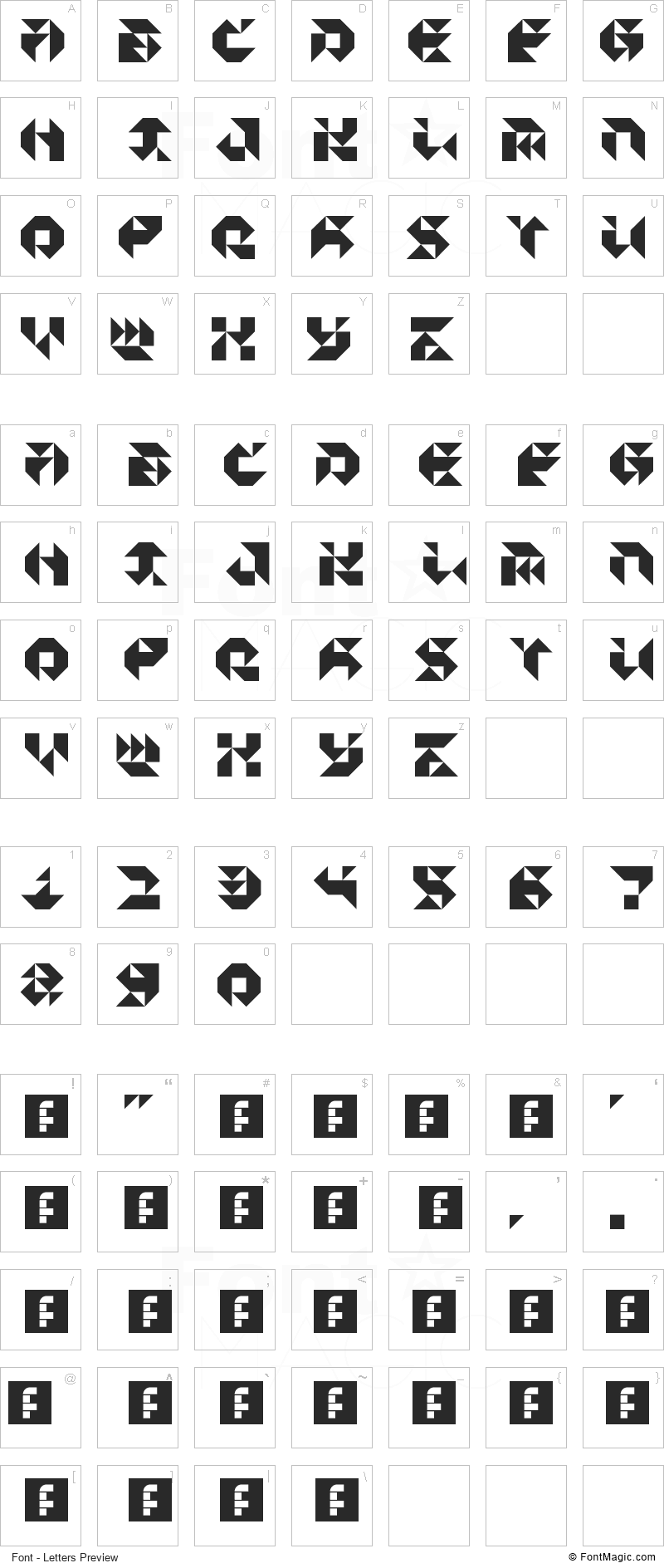 Particulator III Font - All Latters Preview Chart