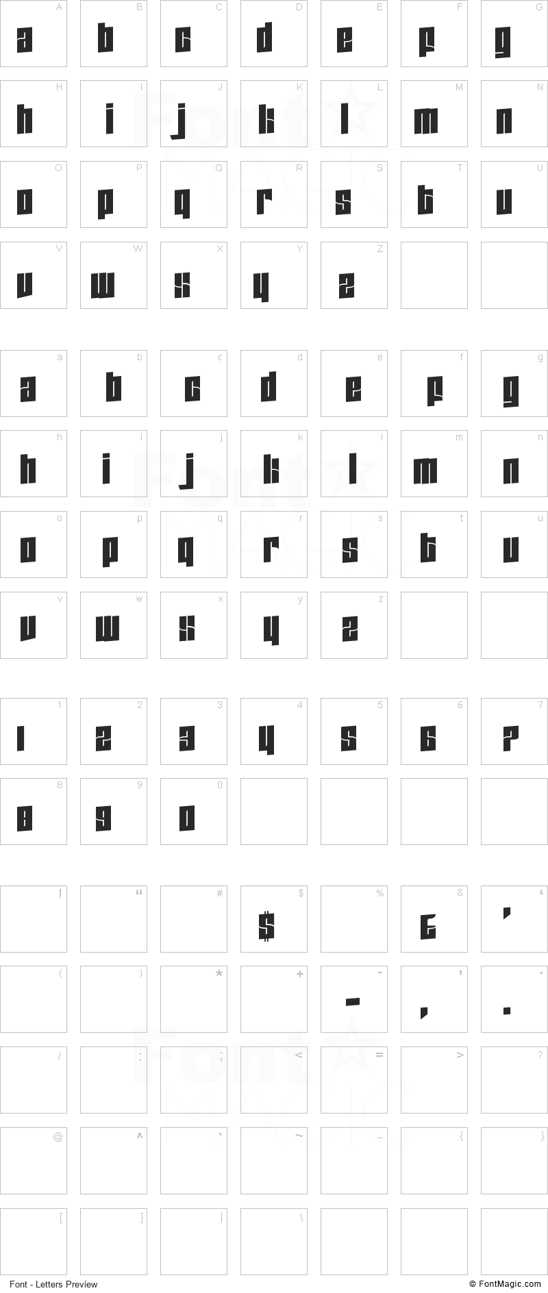Zdyk Scorpio Font - All Latters Preview Chart