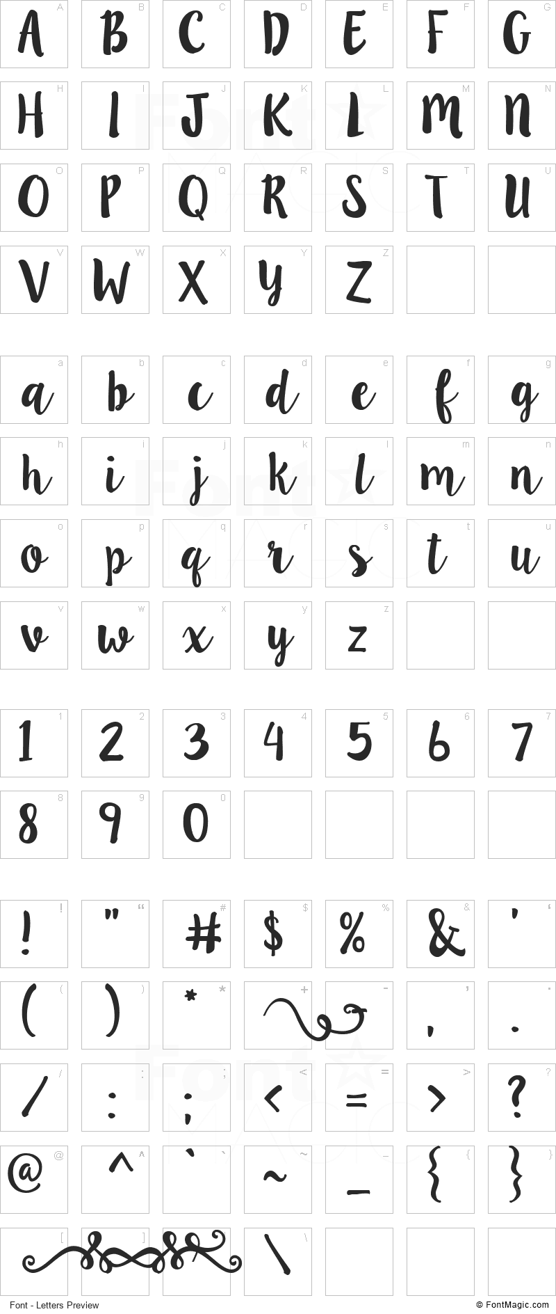 LillyBelle Font - All Latters Preview Chart