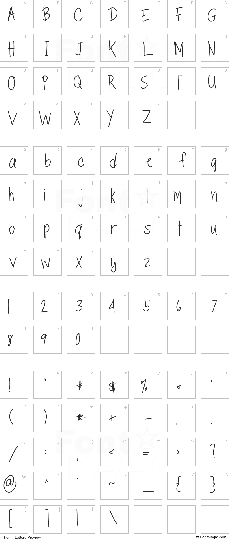 TippyToes Font - All Latters Preview Chart