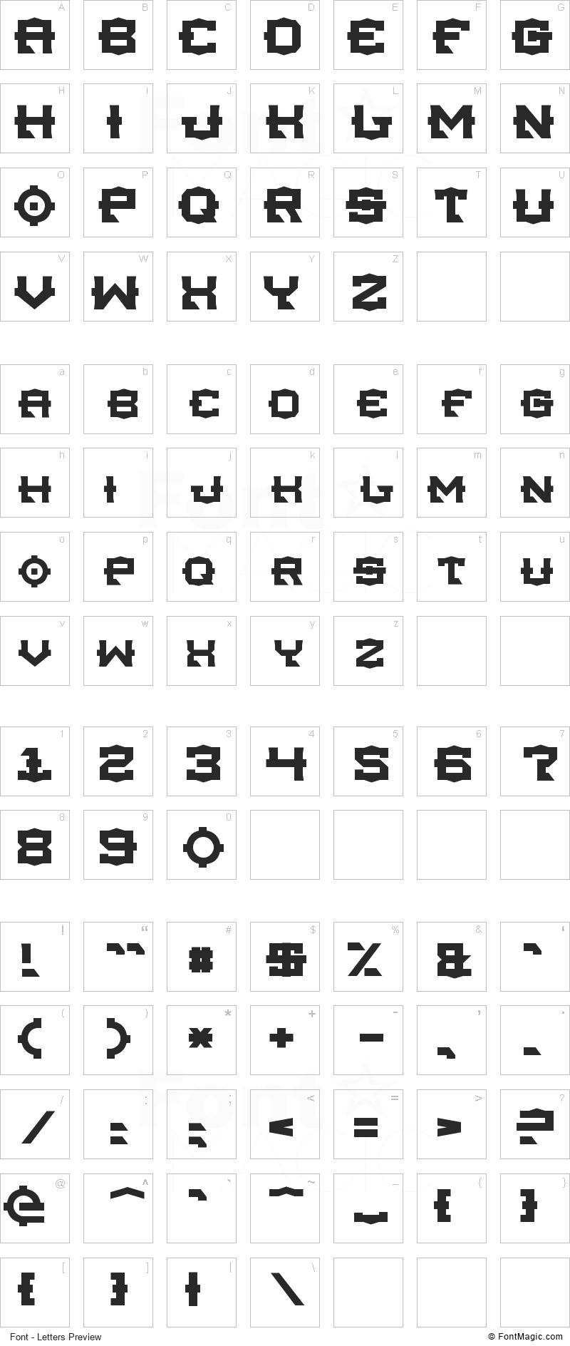 TSA Font - All Latters Preview Chart