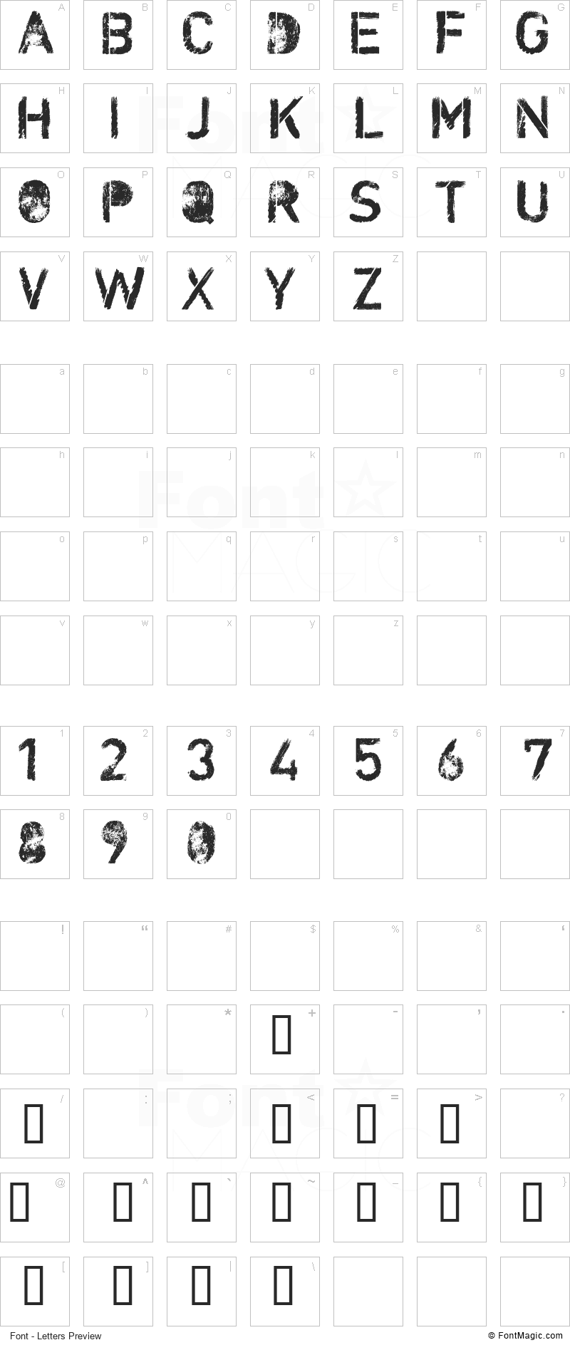 CF Nuclear War Font - All Latters Preview Chart