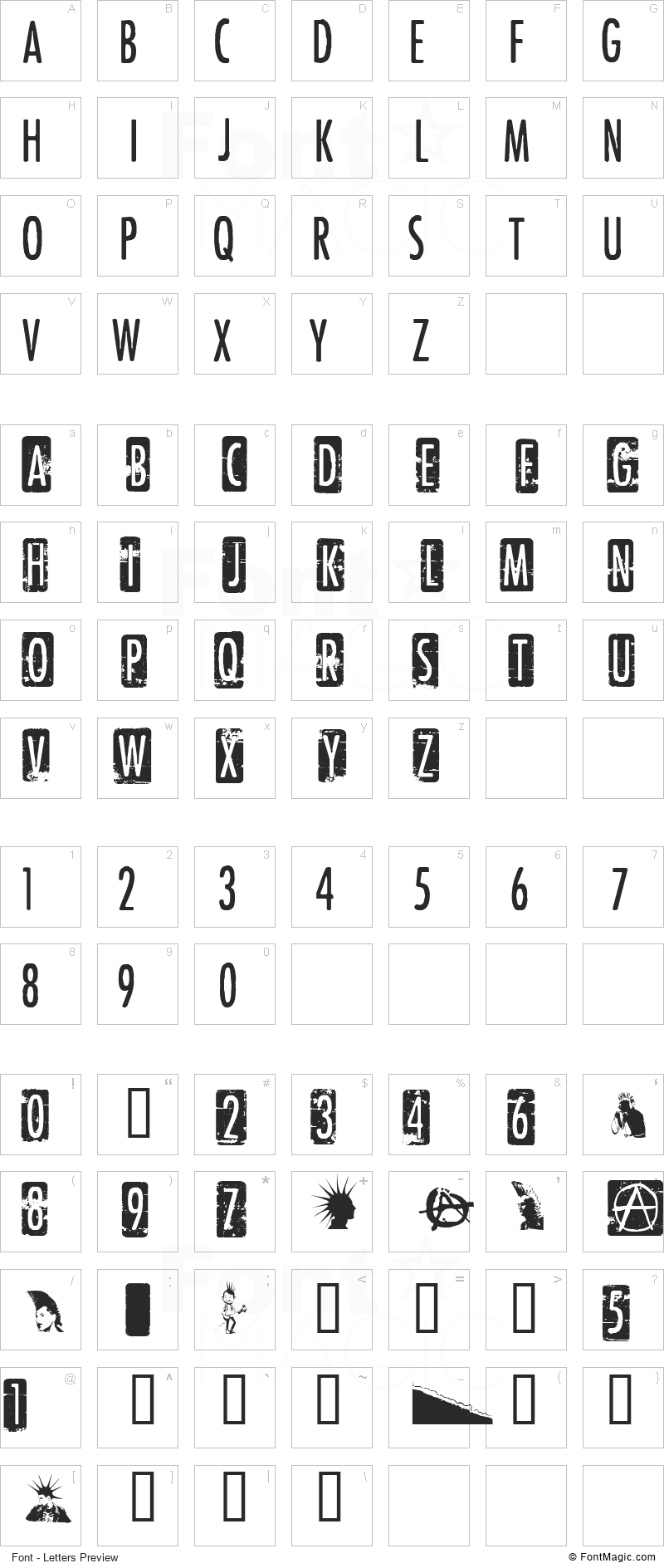 Punk Rock Show Font - All Latters Preview Chart