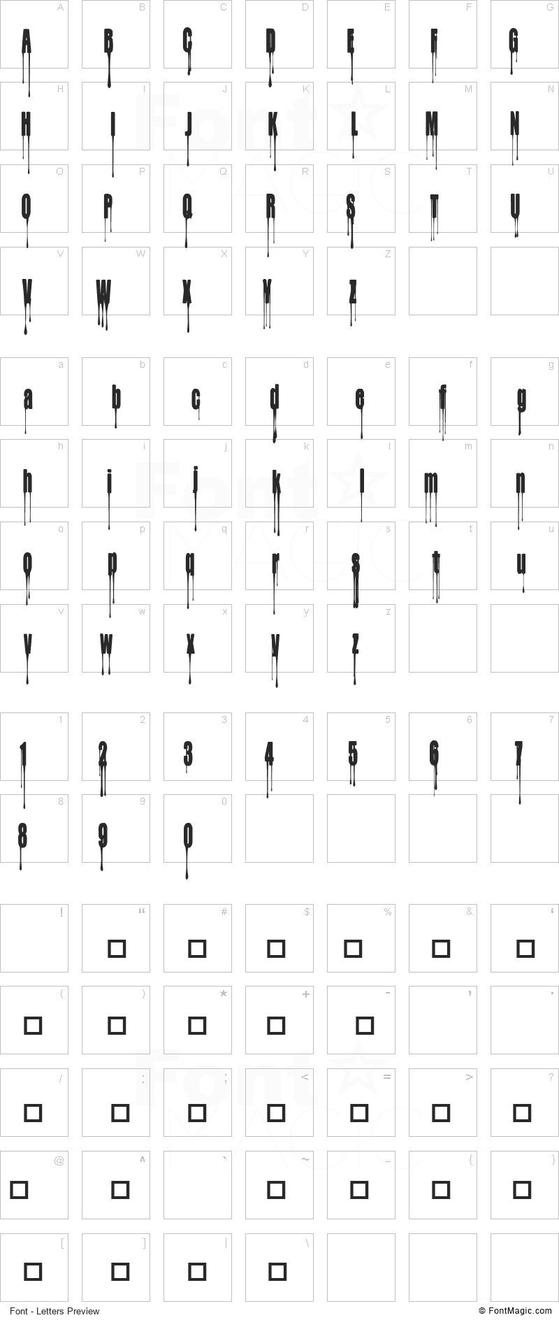 CF My Bloody Valentine Font - All Latters Preview Chart