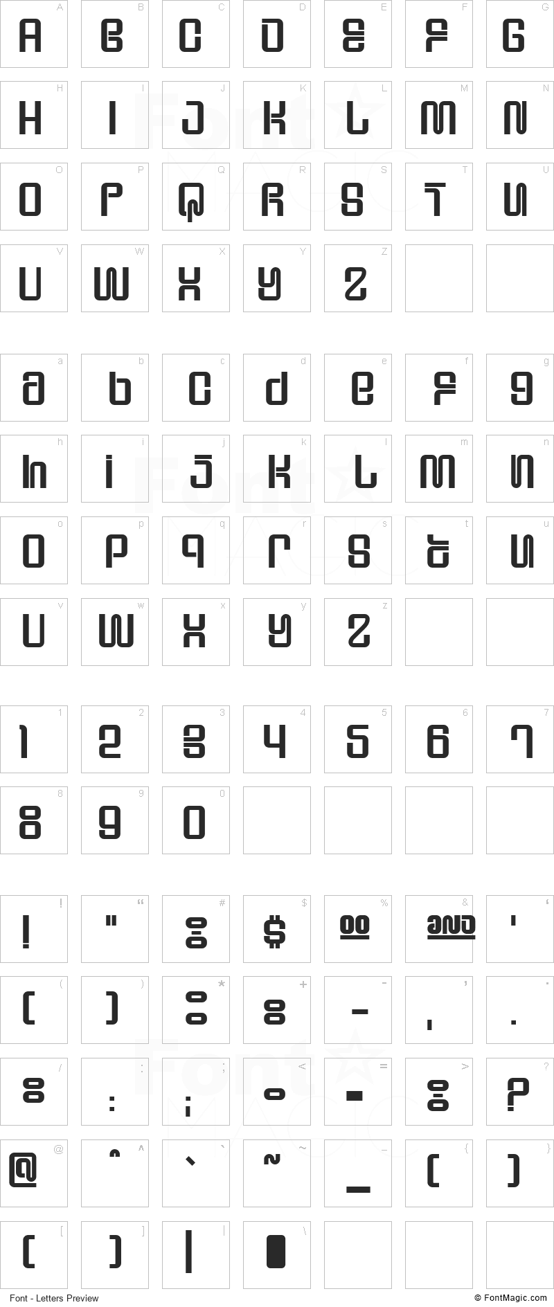Supervixen Font - All Latters Preview Chart