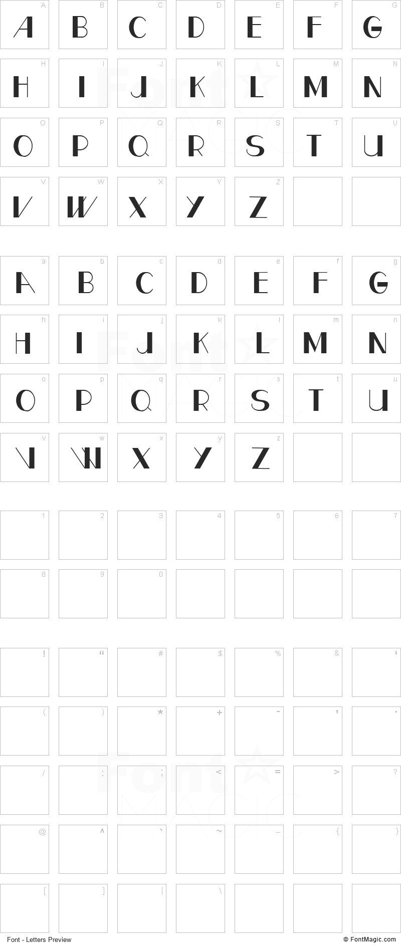CF Paris Font - All Latters Preview Chart
