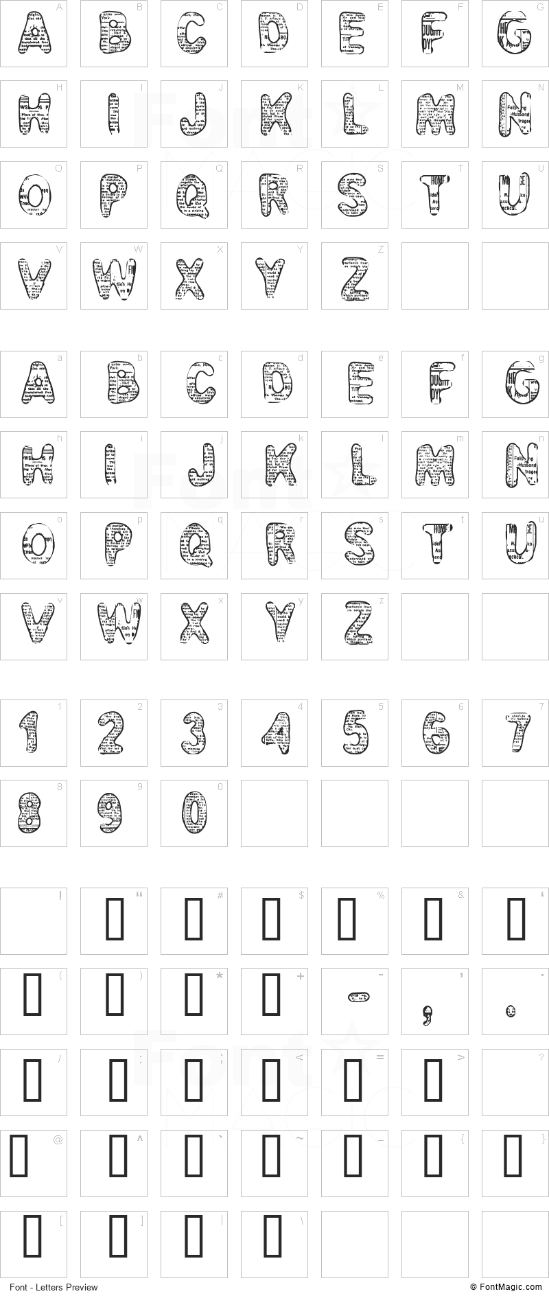 CF Bad News Font - All Latters Preview Chart