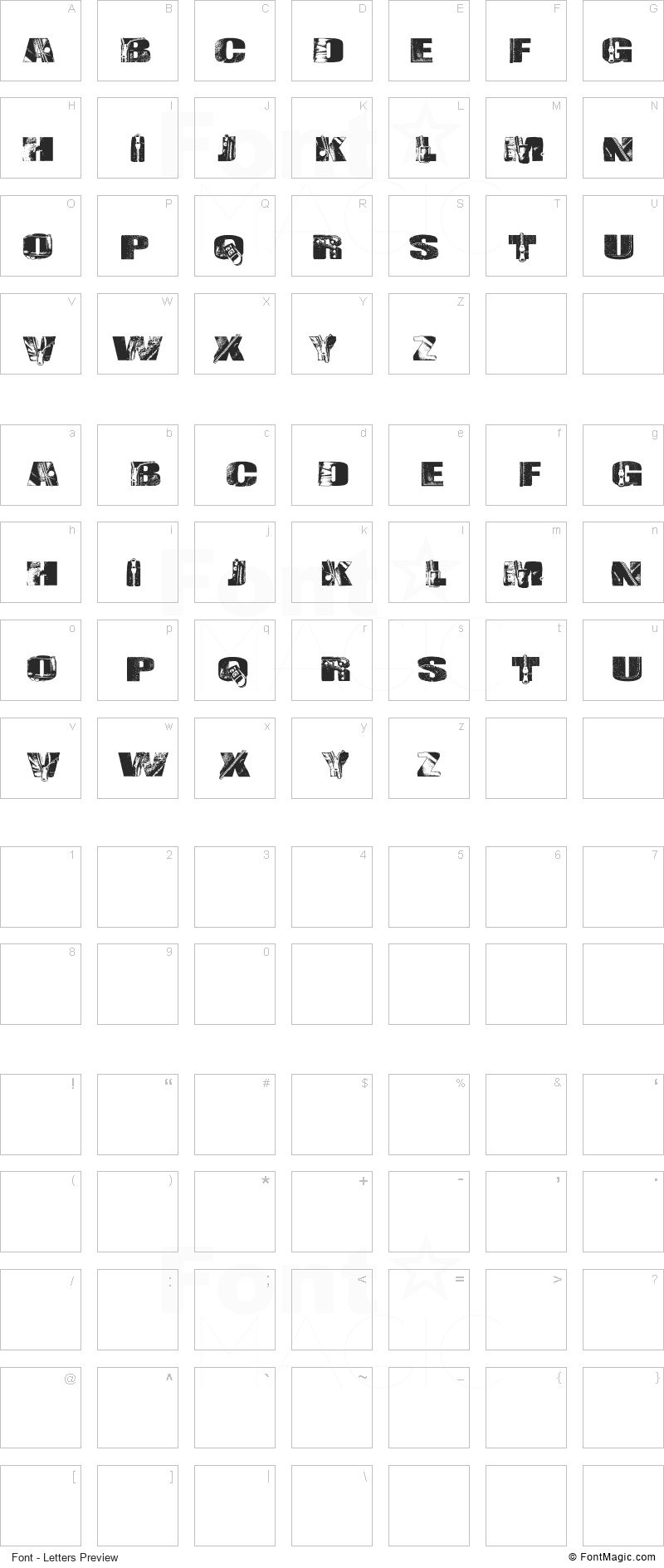 Leather Font - All Latters Preview Chart