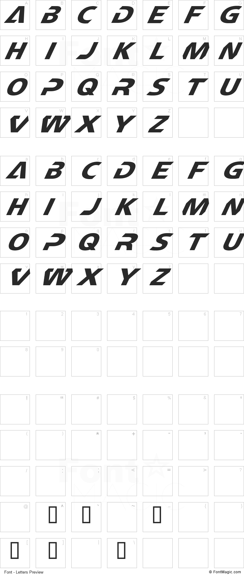 CF TechnoMania Font - All Latters Preview Chart