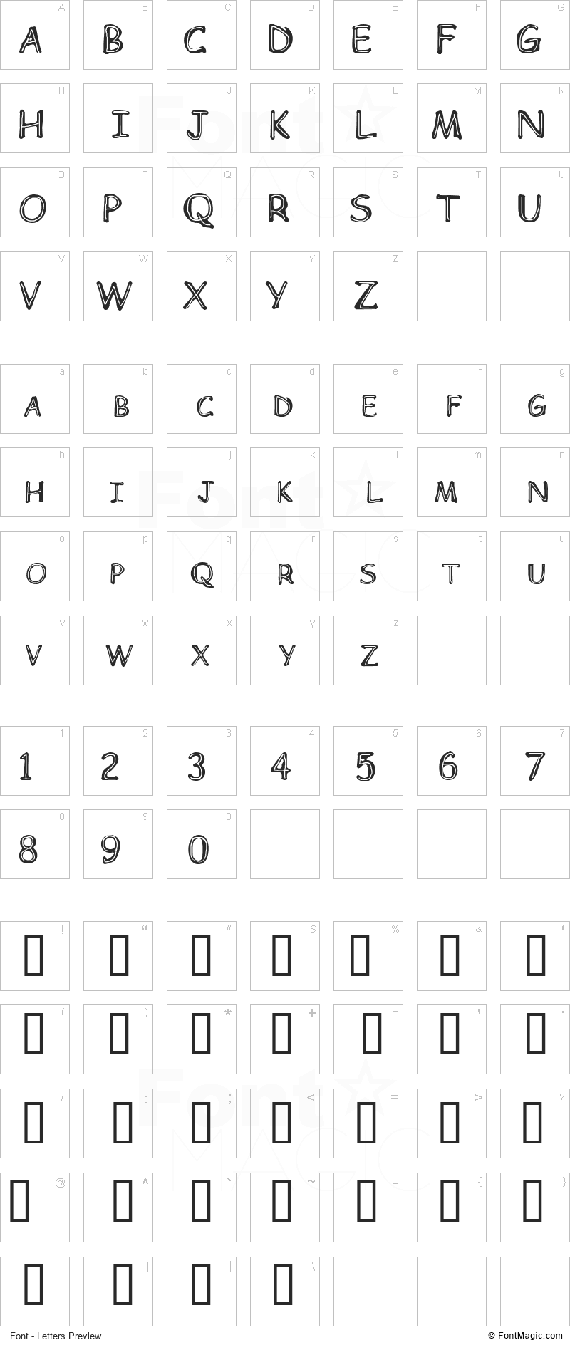 Children Font - All Latters Preview Chart