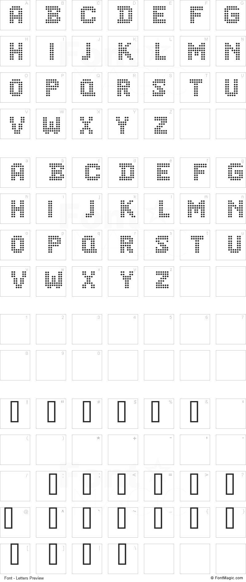 CF Dots 521 Font - All Latters Preview Chart