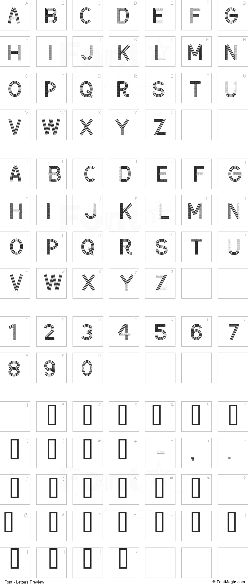 CF Ceinture Flechee Font - All Latters Preview Chart