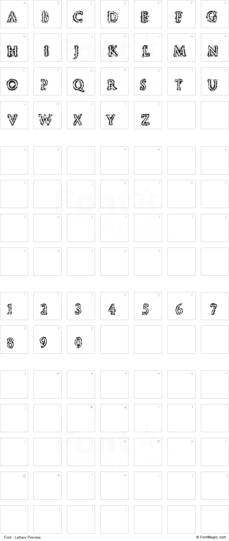 Stucco Font - All Latters Preview Chart