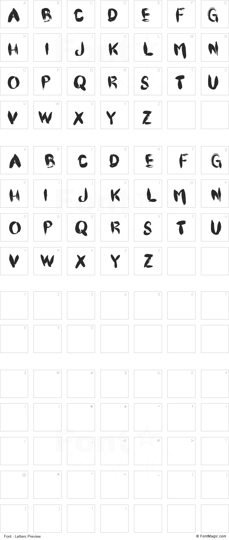 CF Pinceau Font - All Latters Preview Chart