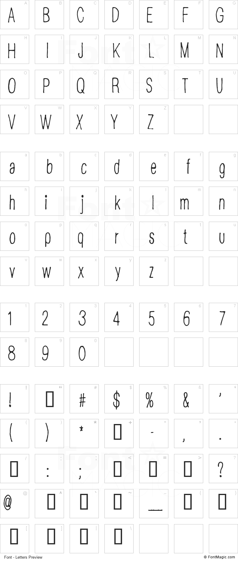CF Disappointed Font - All Latters Preview Chart