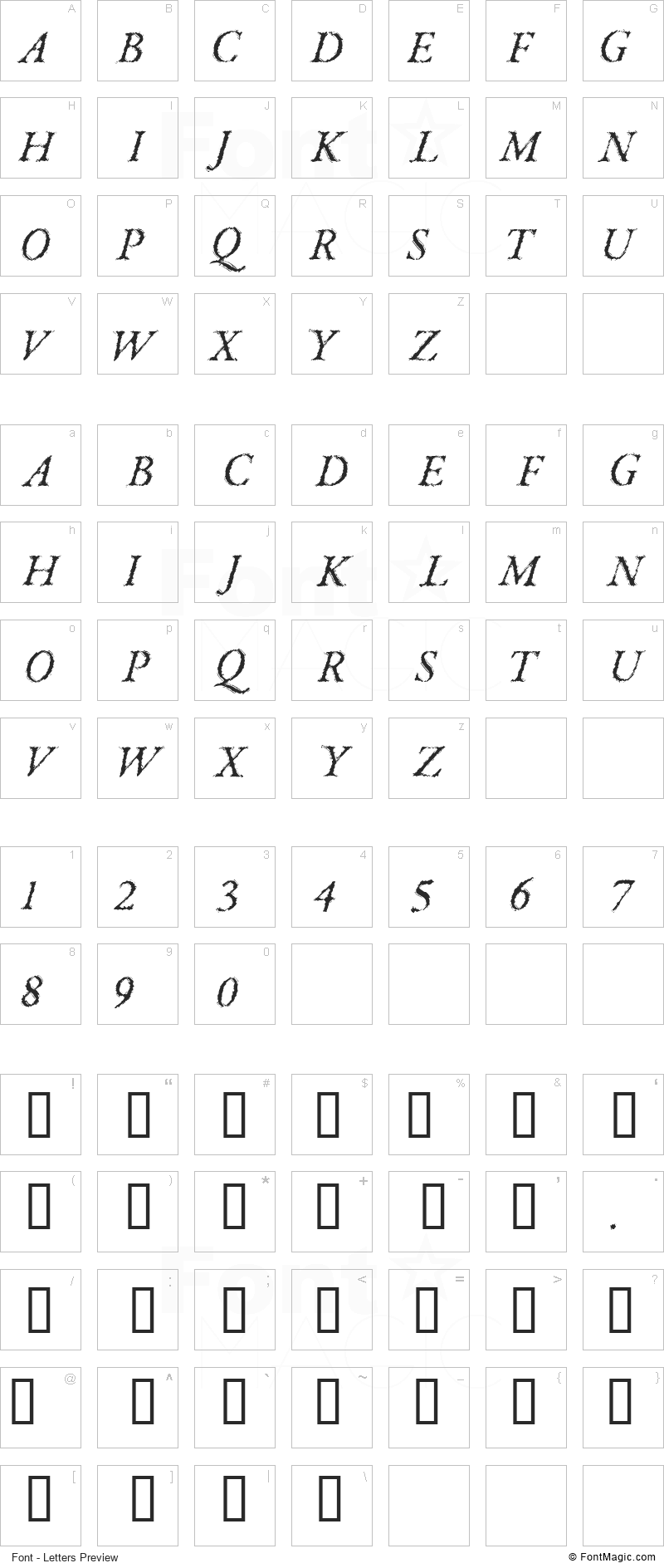 Parkinson Font - All Latters Preview Chart