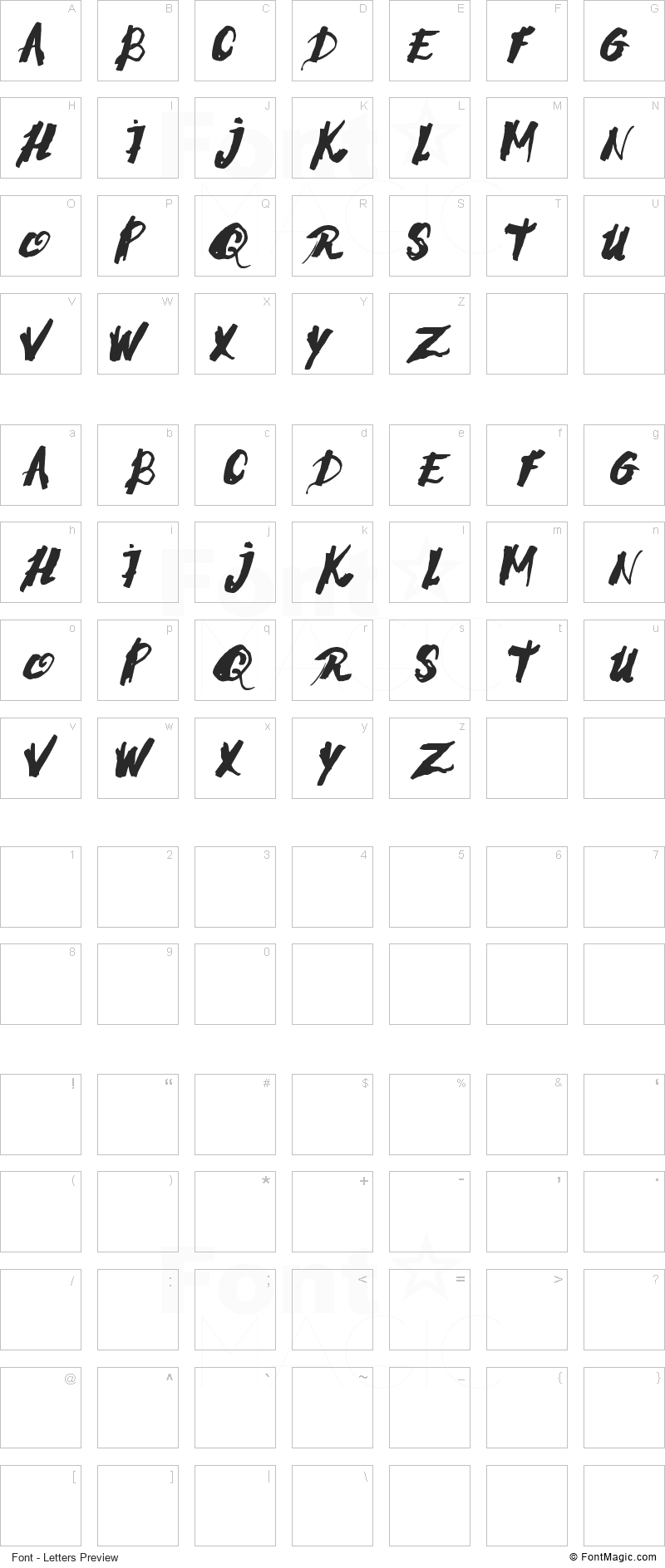 Morning Stress Font - All Latters Preview Chart