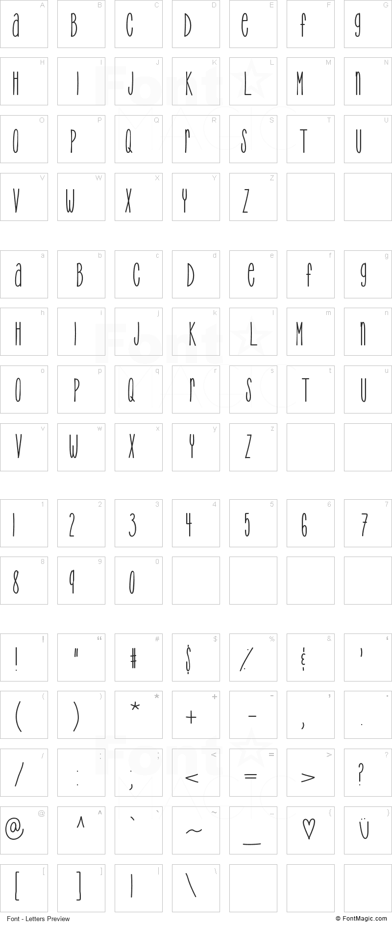 TooTight Font - All Latters Preview Chart