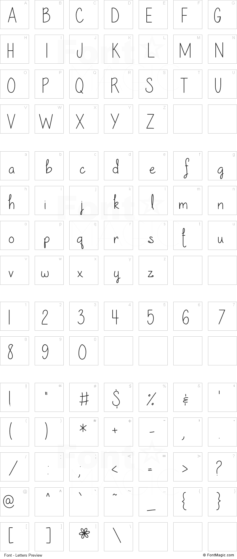 Our lil secret forever Font - All Latters Preview Chart