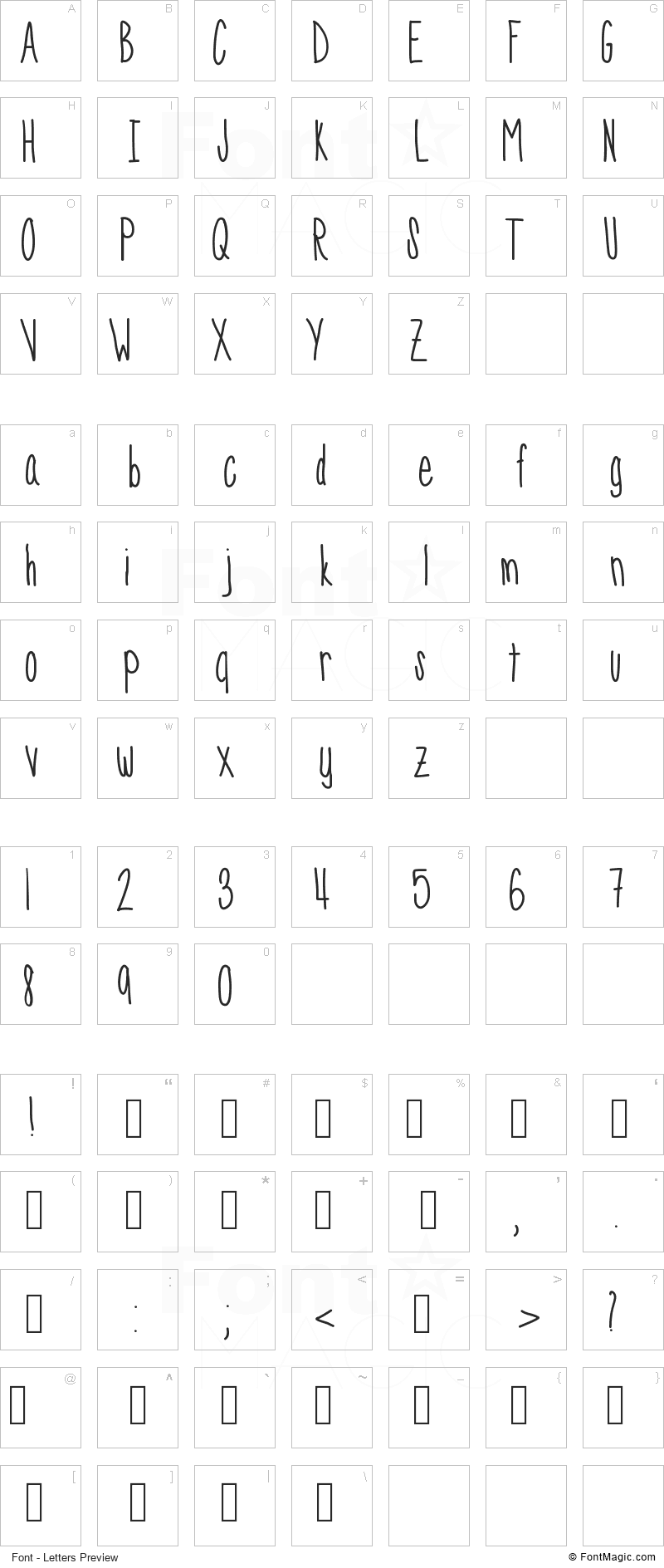 SkinnyNess Font - All Latters Preview Chart