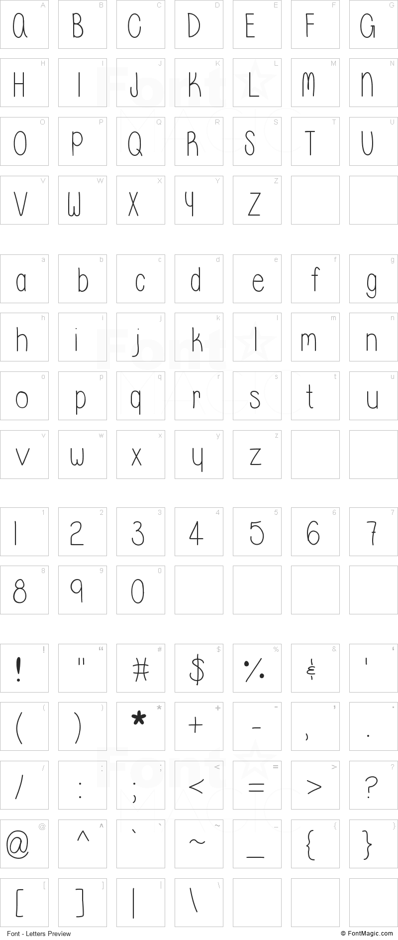 Whisper a Dream Font - All Latters Preview Chart