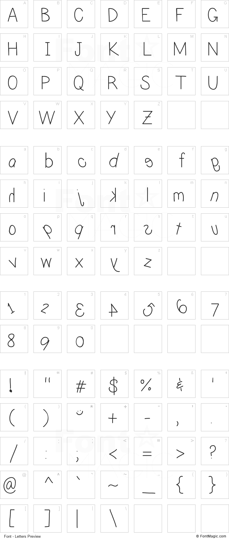 Caffeine Font - All Latters Preview Chart