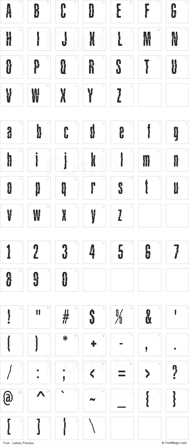 Babalusa Cut Font - All Latters Preview Chart