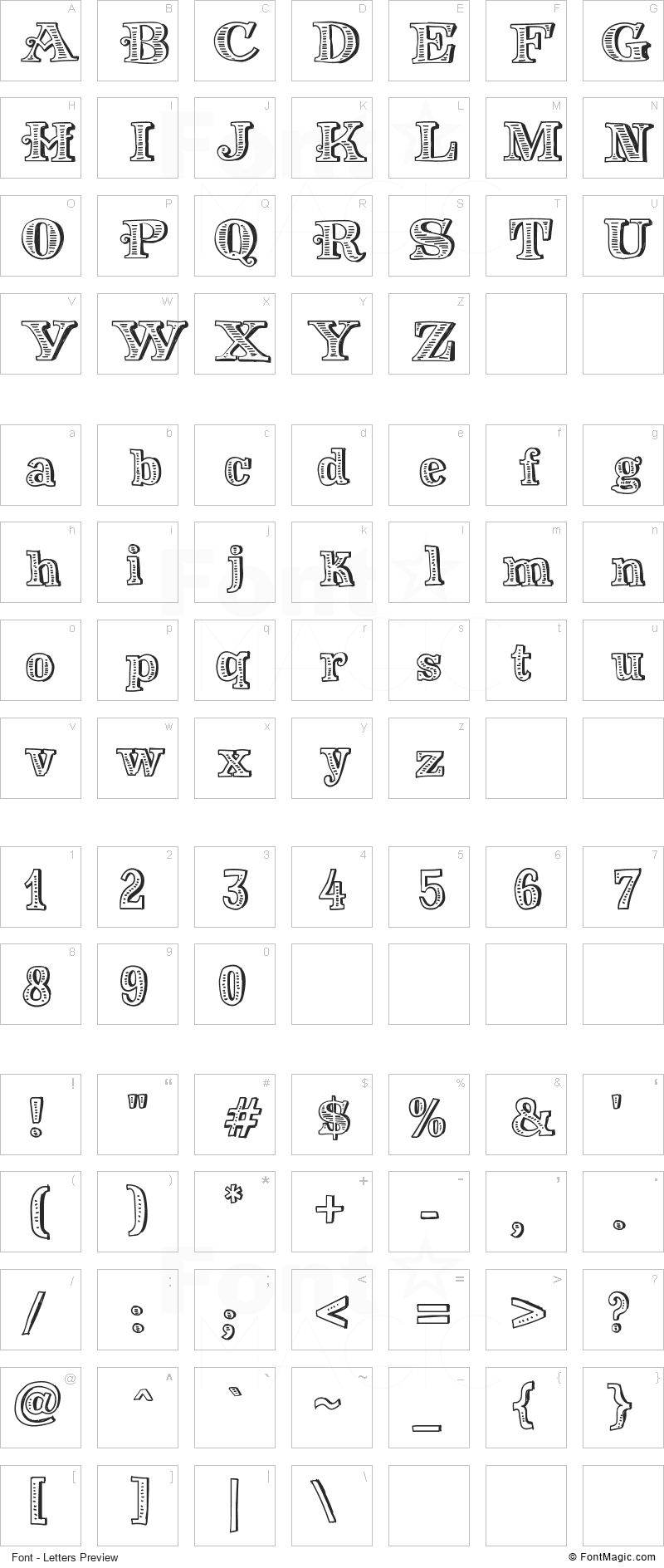 Money Money Font - All Latters Preview Chart