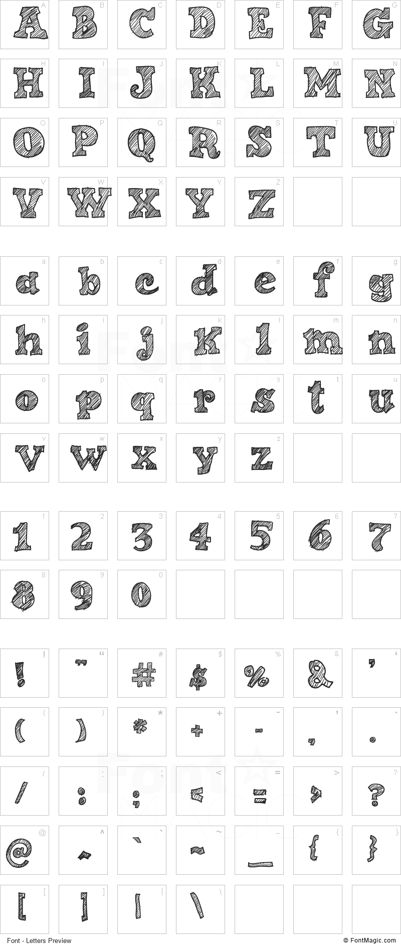 Sketch Nice Font - All Latters Preview Chart