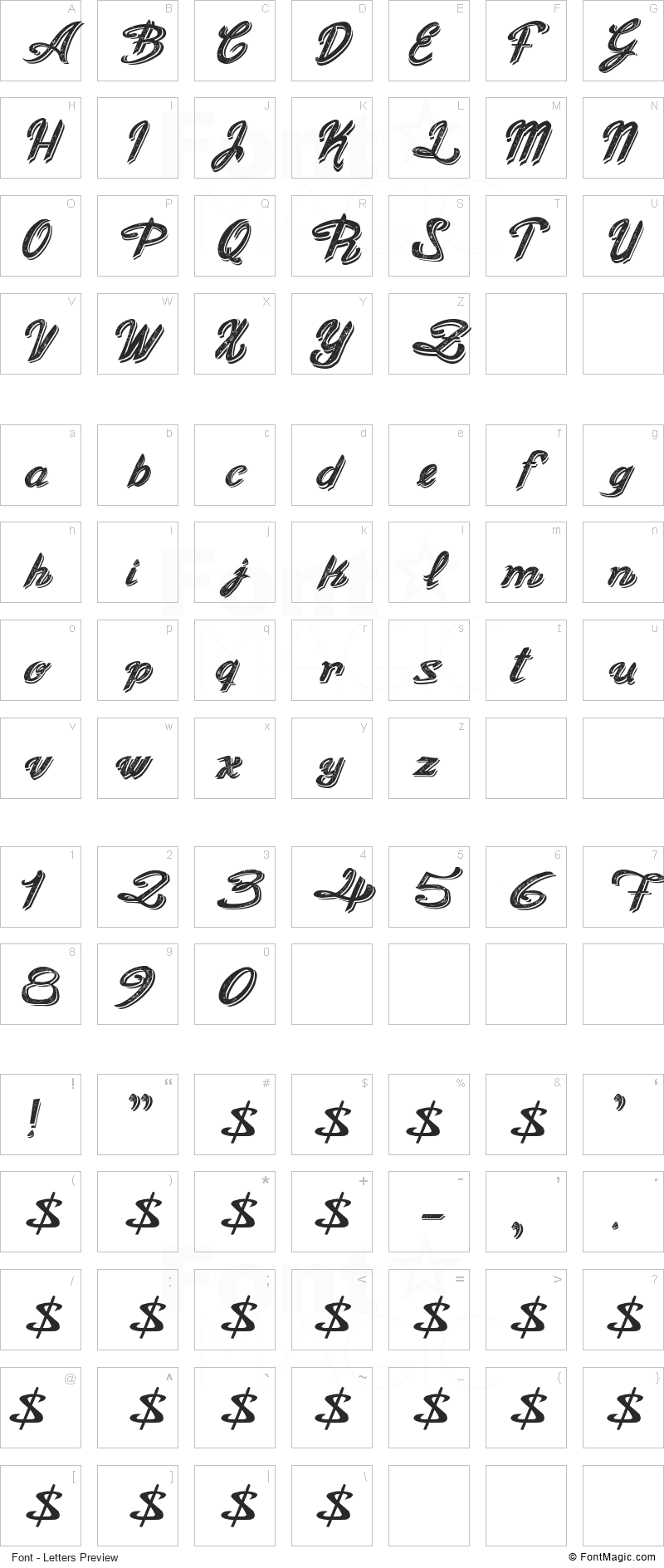 Old Figaro Cursive Font - All Latters Preview Chart