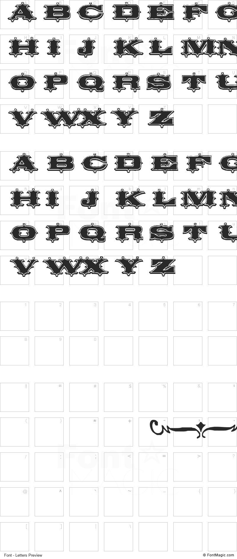Circus Ornate Font - All Latters Preview Chart