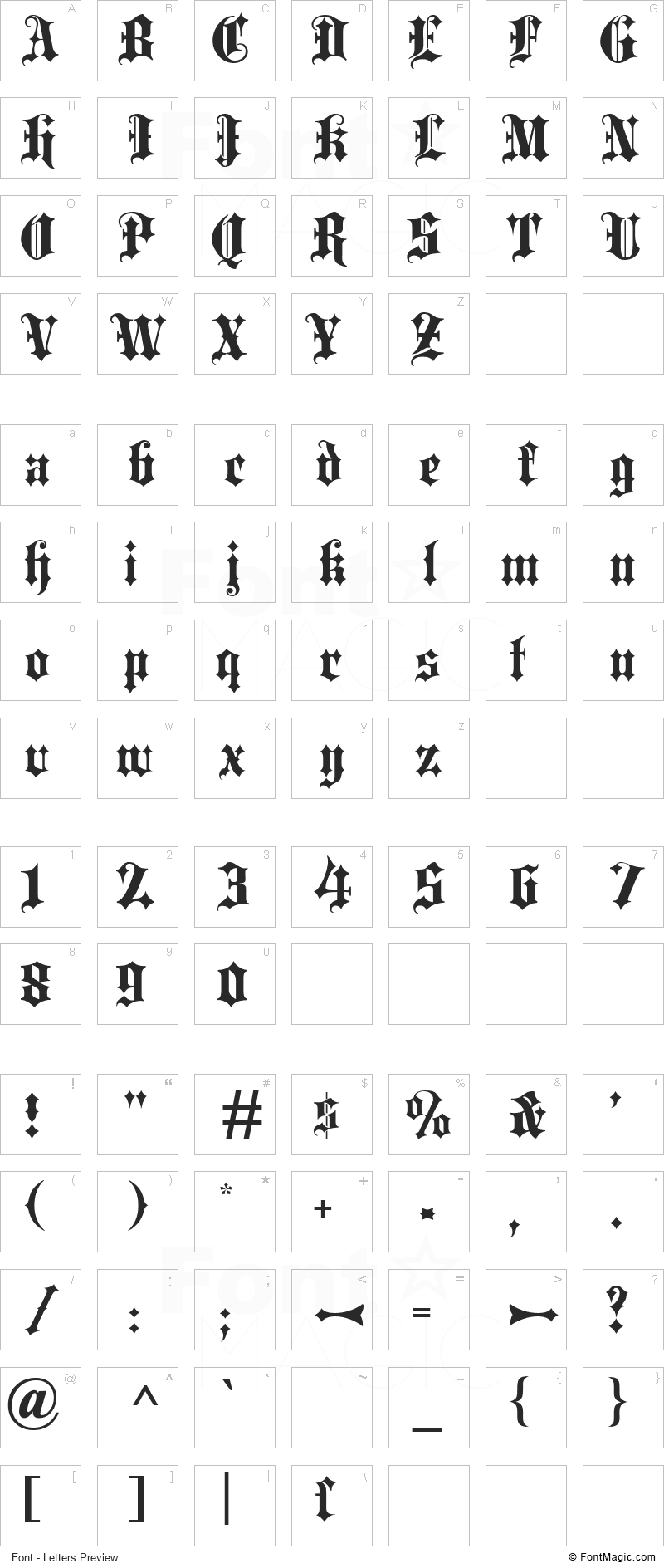 Blackletter Font - All Latters Preview Chart