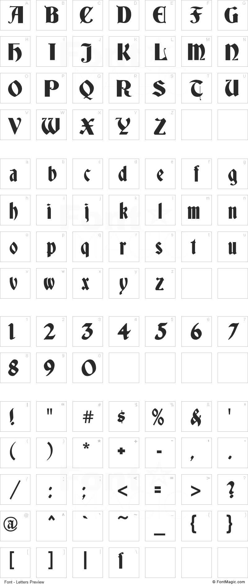 Germania Font - All Latters Preview Chart
